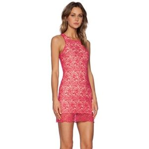 Lovers + Friends radiant pink lace dress S